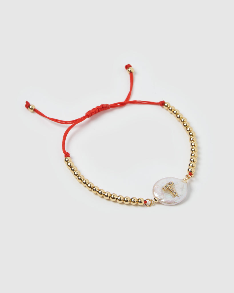 Miz Casa & Co Letterman T Bracelet Gold Red