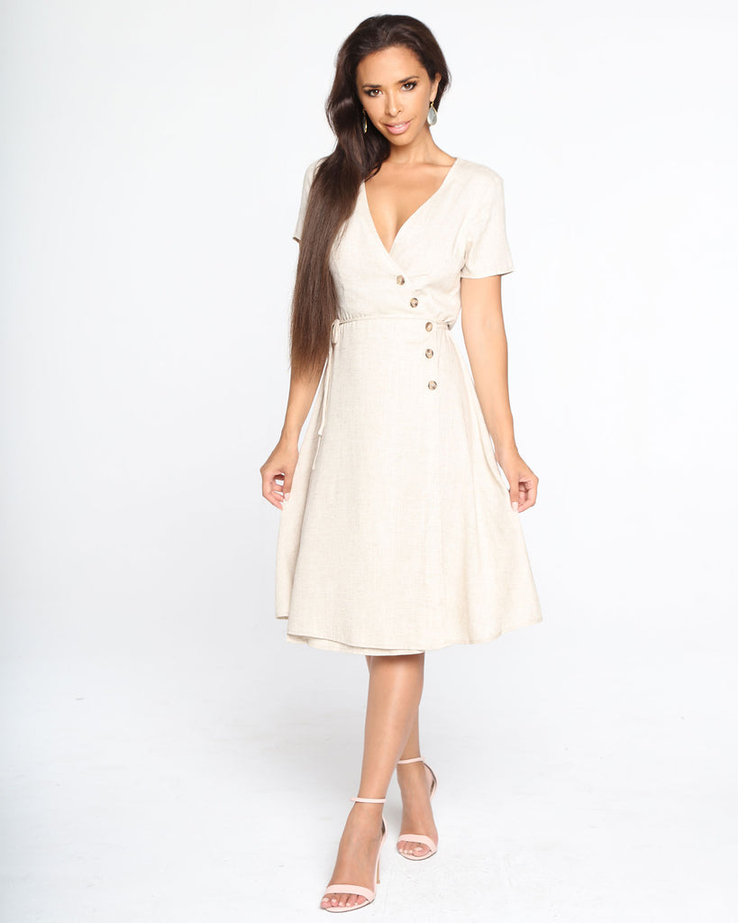 Miz Casa and Co Magnolia Dress Beige (SIZE 6 ONLY)