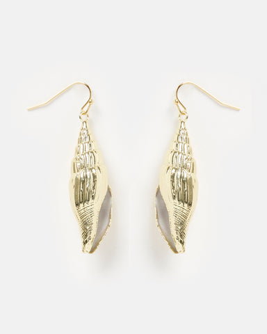 Miz Casa & Co Sea Petal Earrings Marble Gold