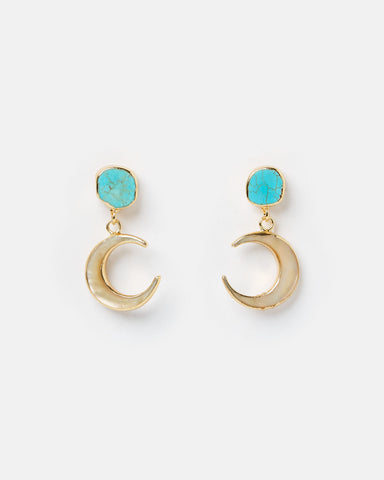 Miz Casa & Co Charlie Drop Pearl Embellished Earrings Turquoise Gold