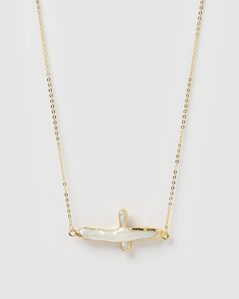 Miz Casa & Co Manifesto Cross Necklace Gold Freshwater Pearl