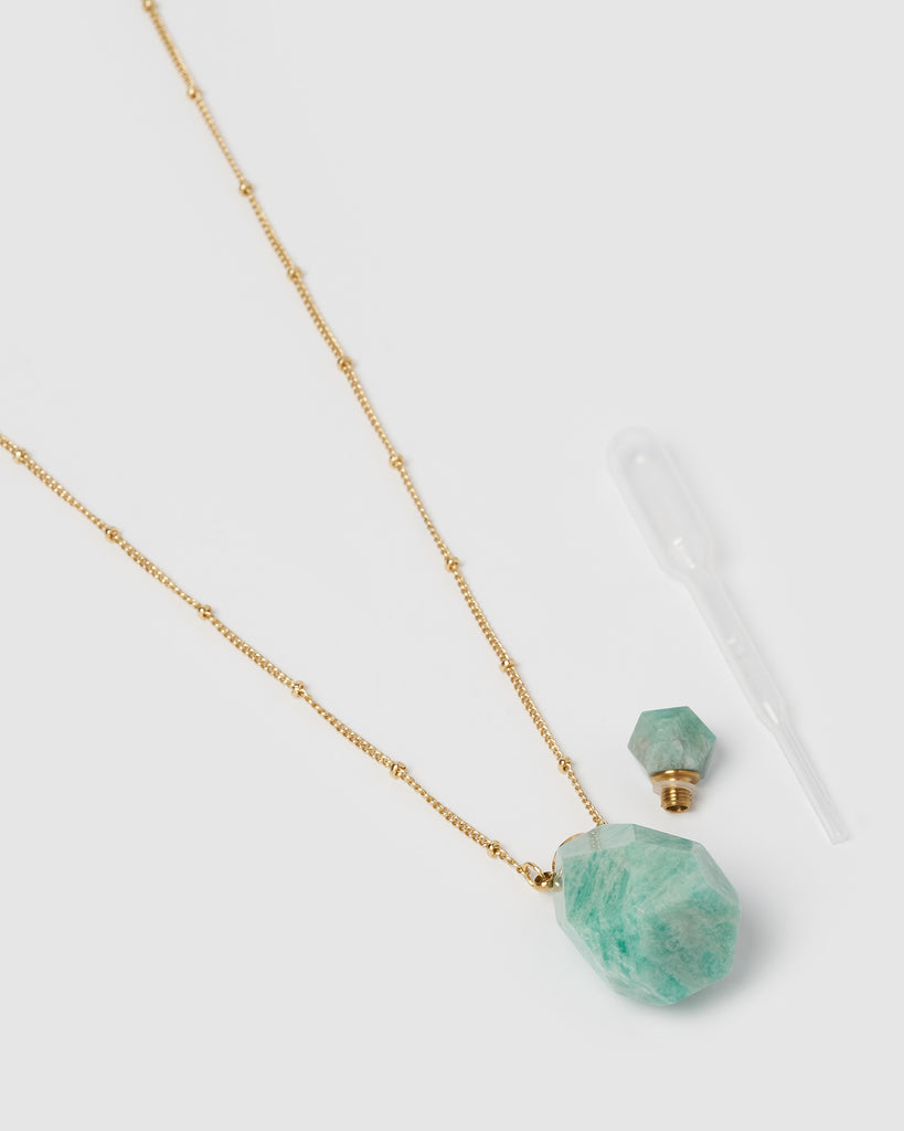 Miz Casa & Co Mini Fantasy Pendant Perfume Bottle Necklace Turquoise Gold
