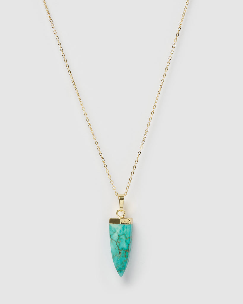 Miz Casa & Co Mini Isla Pendant Necklace Turquoise Gold