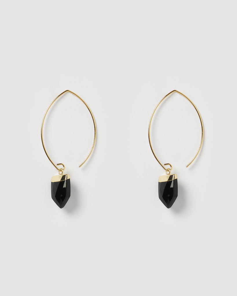 Miz Casa & Co Nomad Earrings Gold Black Onyx