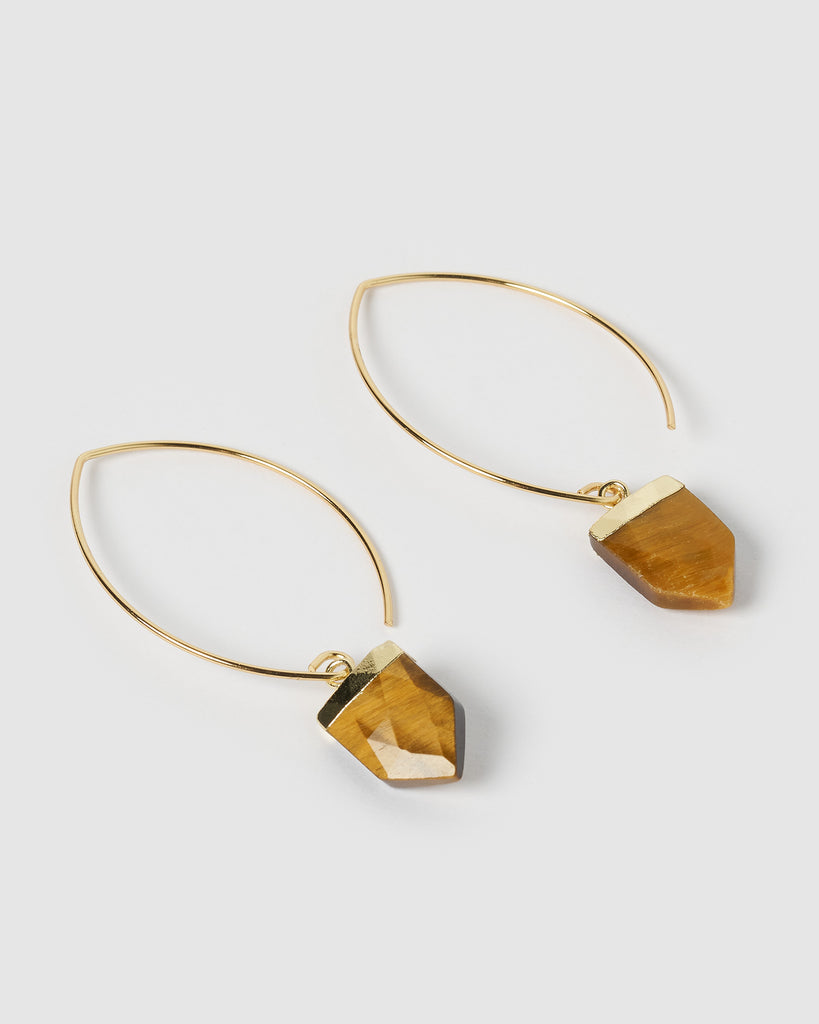 Miz Casa & Co Nomad Earrings Gold Tiger's Eye
