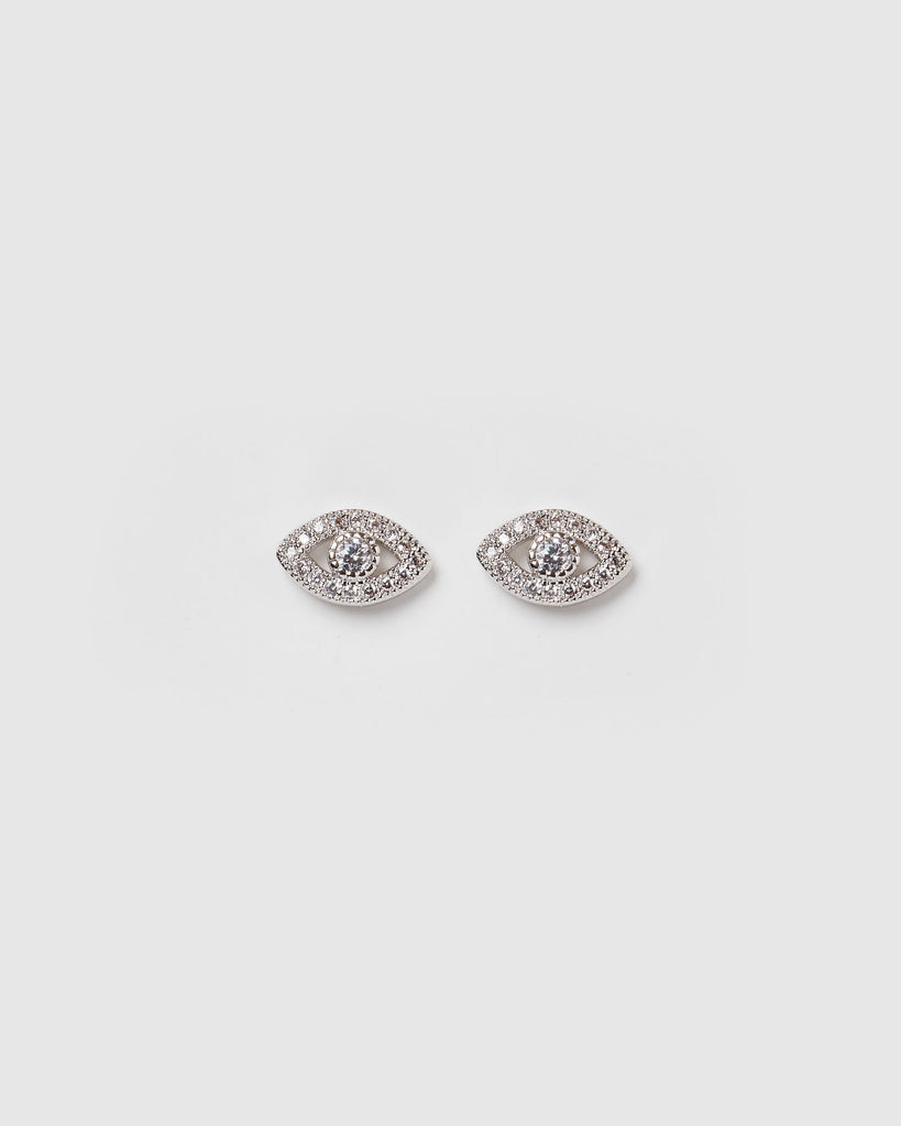 Miz Casa & Co Night Moon Eye Stud Earrings Silver Clear