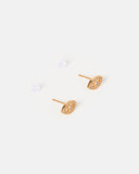 Miz Casa & Co Night Moon Eye Stud Earrings Gold Clear