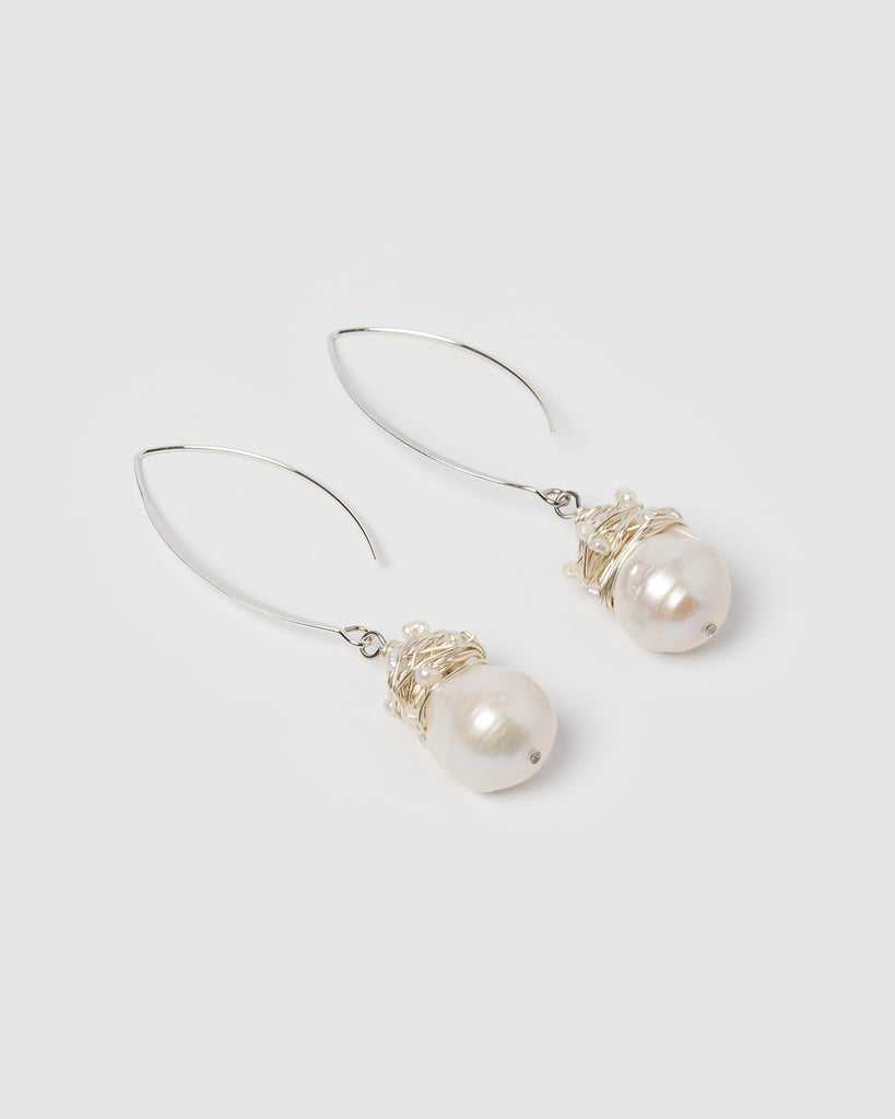 Miz Casa & Co Nadia Simple Drop Earrings Silver Pearl