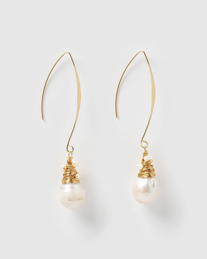 Miz Casa & Co Kelsey Drop Earrings Freshwater Pearl