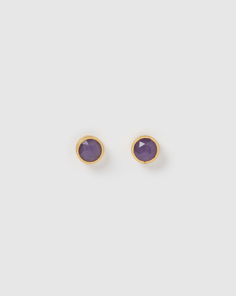 Miz Casa & Co Oceanic Stud Earrings Gold Amethyst