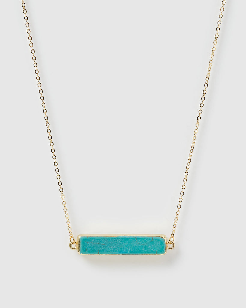 Miz Casa & Co Papeete Necklace Turquoise Gold