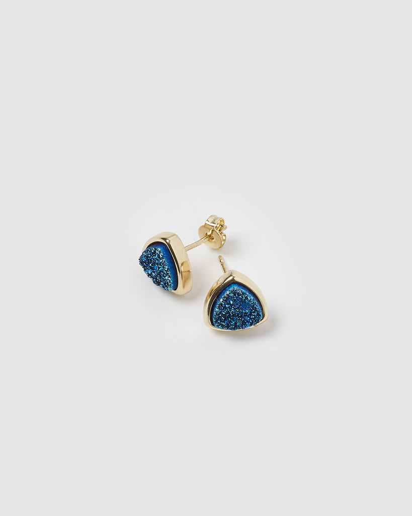 Miz Casa & Co Riley Stud Earrings Blue Gold