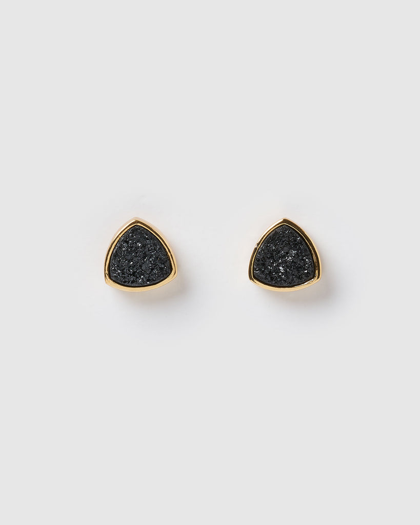 Miz Casa & Co Riley Stud Earrings Black Gold