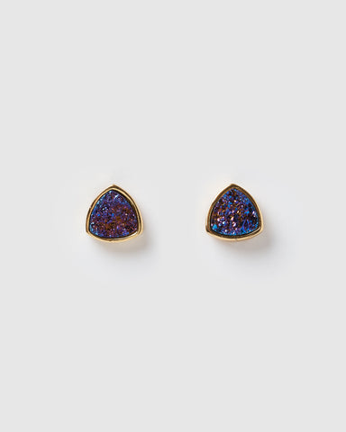 Miz Casa & Co Sunlit Stud Earrings Navy Gold