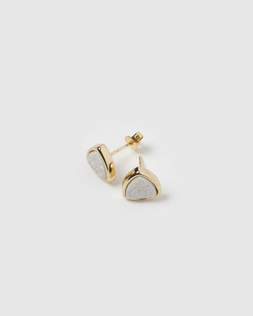 Miz Casa & Co Riley Stud Earrings White Gold