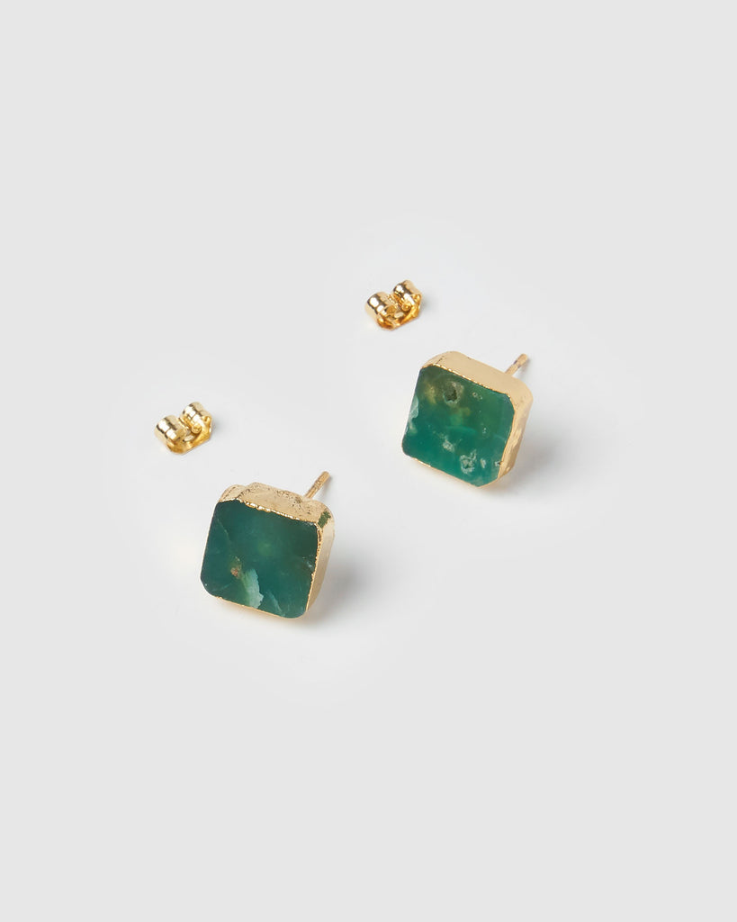 Miz Casa & Co Runaway Stud Earrings Chrysoprase Jade