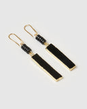 Miz Casa & Co Rylee Drop Earrings Black Onyx Gold