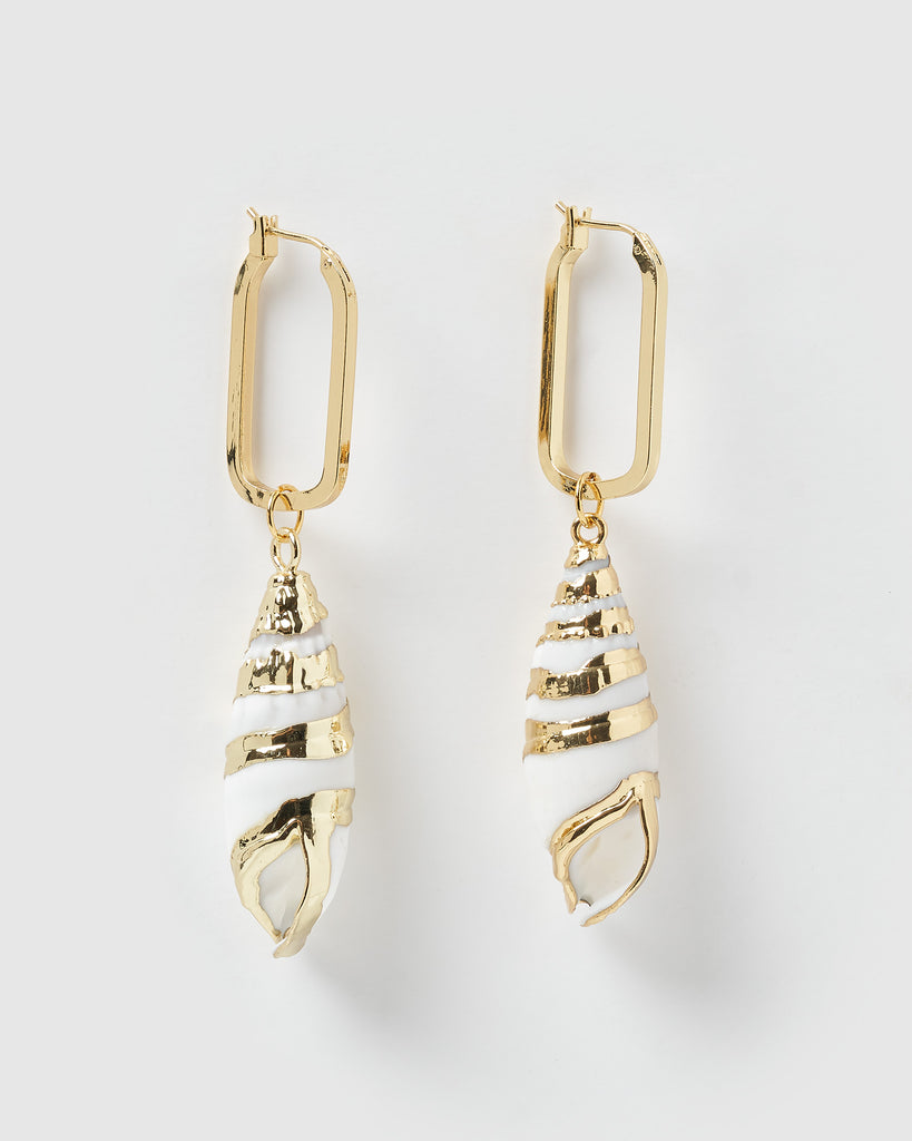 Miz Casa & Co Ruby Shell Earrings Gold White