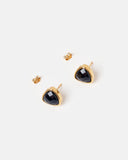 Miz Casa & Co Salt Stud Earrings Onyx Gold