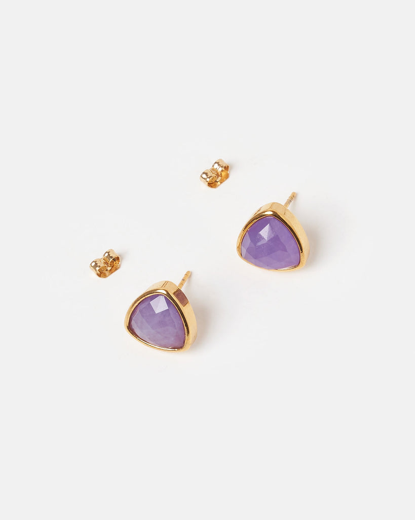 Miz Casa & Co Salt Stud Earrings Amethyst Gold