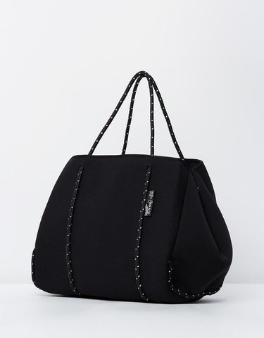 Miz Casa & Co Sammy Neoprene Tote Bag Shiny Black