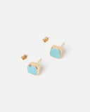Miz Casa & Co Sea Breeze Stud Earrings Gold Blue