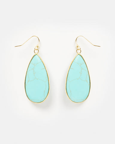 Miz Casa & Co Neptunes Heart Earrings Turquoise Gold