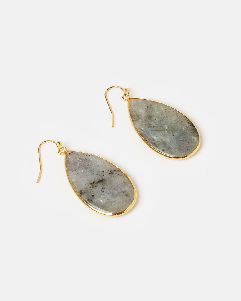 Miz Casa & Co Sea Petal Earrings Labradorite Gold