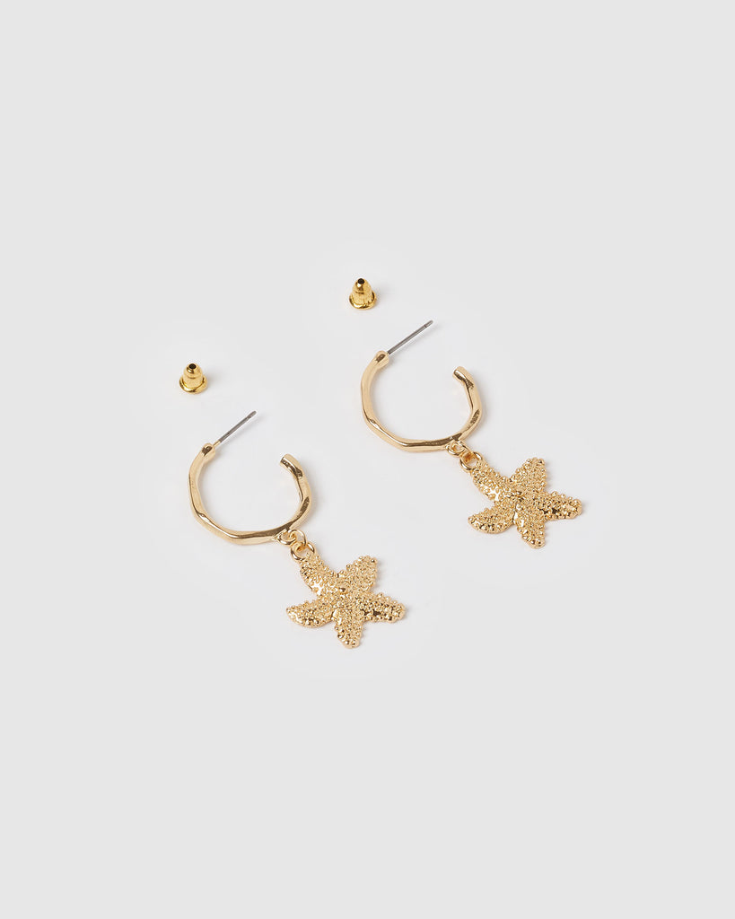 Miz Casa & Co Sea Star Hoop Earrings Gold