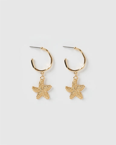 Miz Casa & Co Star Flower Earrings Turquoise Gold