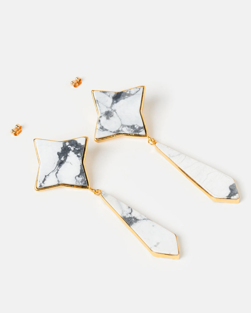 Miz Casa & Co Star Flower Earrings Marble Gold