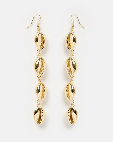 Miz Casa & Co Cowrie Shell Earrings Rose Gold White