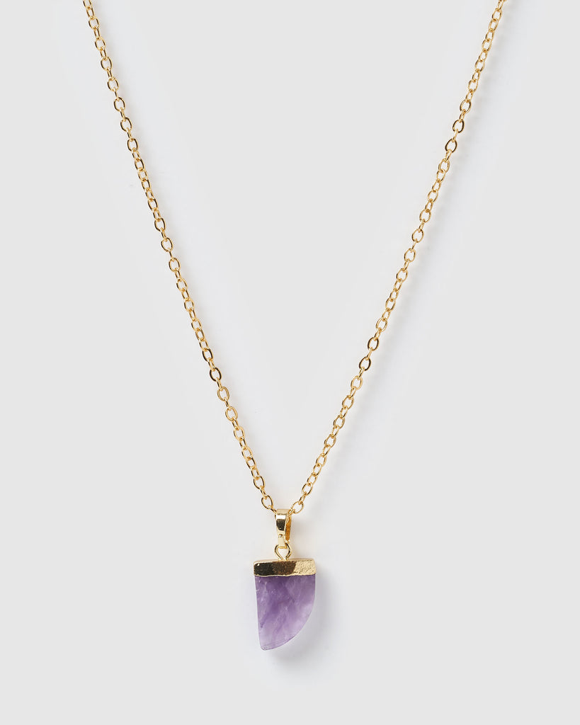 Miz Casa & Co Stone Charm Necklace Gold Amethyst