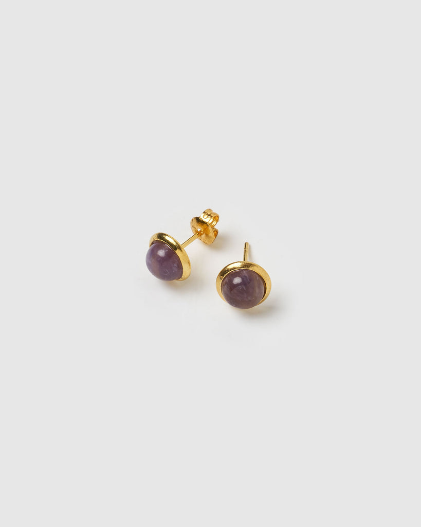 Miz Casa & Co Sunlit Stud Earrings Amethyst Gold