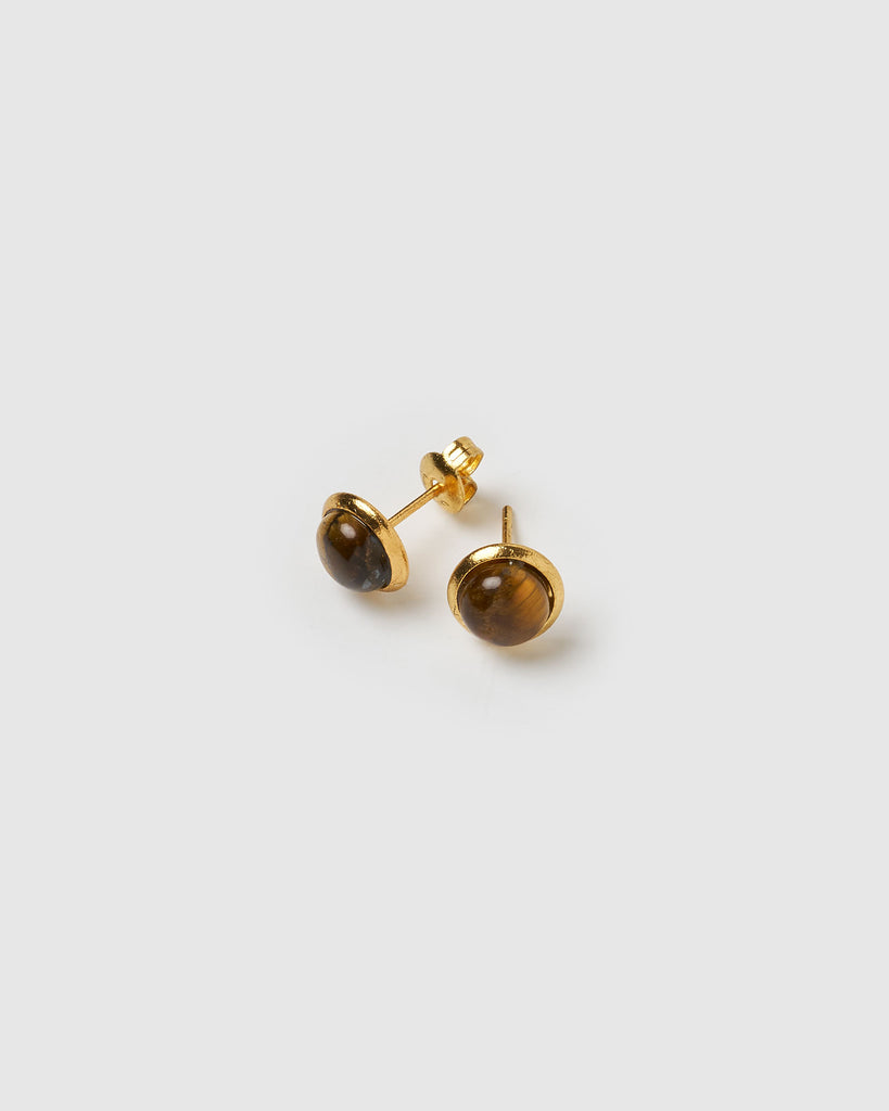 Miz Casa & Co Sunlit Stud Earrings Smokey Quartz Gold