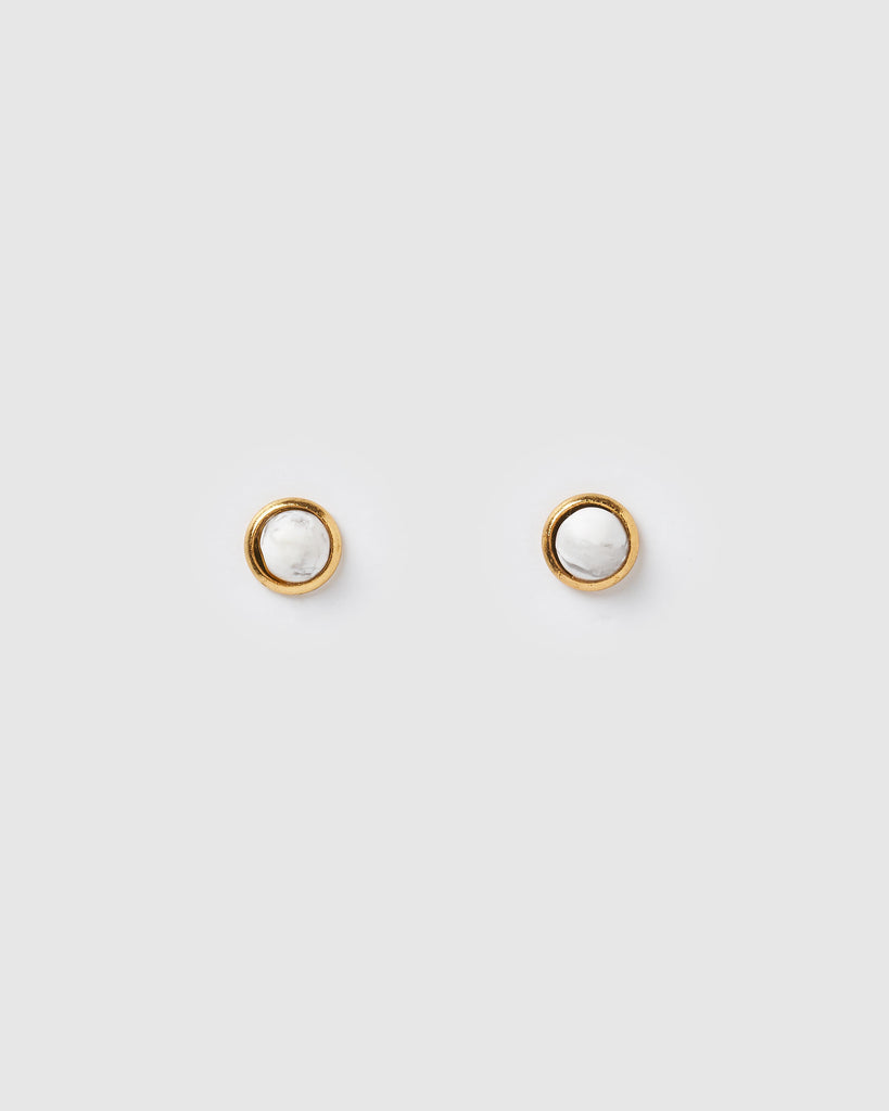 Miz Casa & Co Sunlit Stud Earrings White Marble Gold