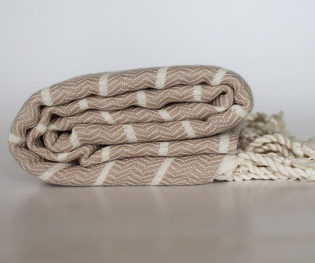 Miz Casa & Co Serento Beige Turkish Towel