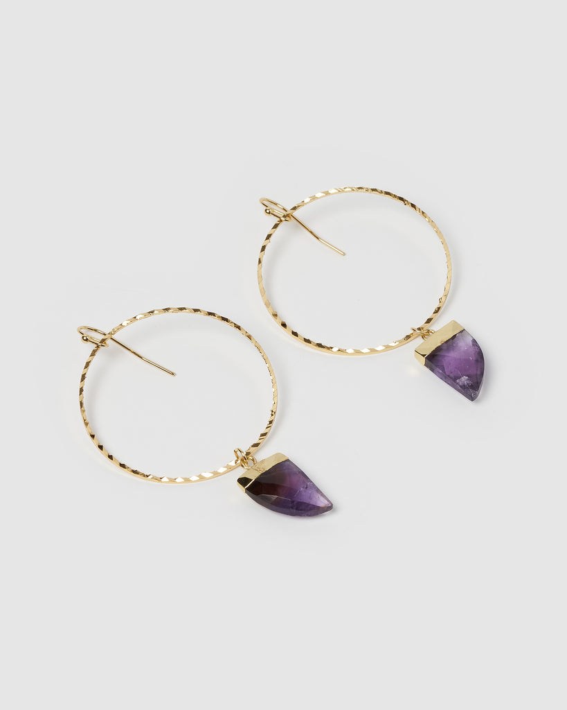 Miz Casa & Co Stone Charm Earrings Gold Amethyst