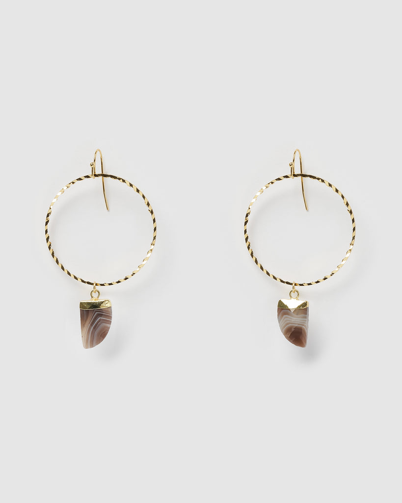 Miz Casa & Co Stone Charm Earrings Gold Brown Marble