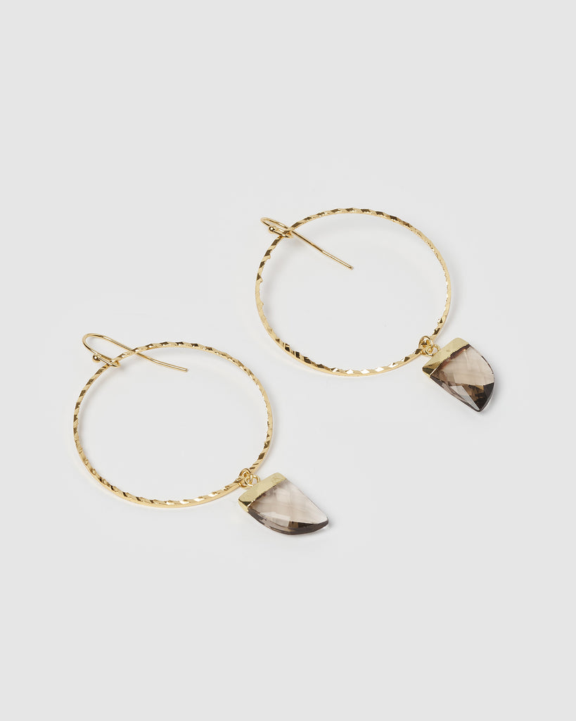 Miz Casa & Co Stone Charm Earrings Gold Smokey Quartz