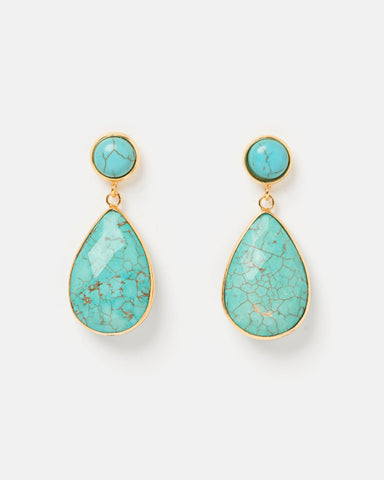 Miz Casa & Co Moon Dance Earrings Blue White