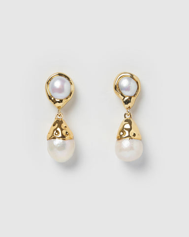 Miz Casa & Co Riley Stud Earrings Gold Peach