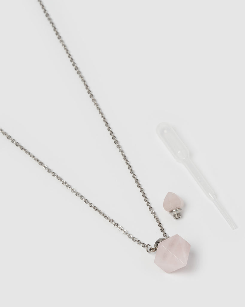 Miz Casa & Co Trix Pendant Perfume Bottle Necklace Rose Quartz Silver