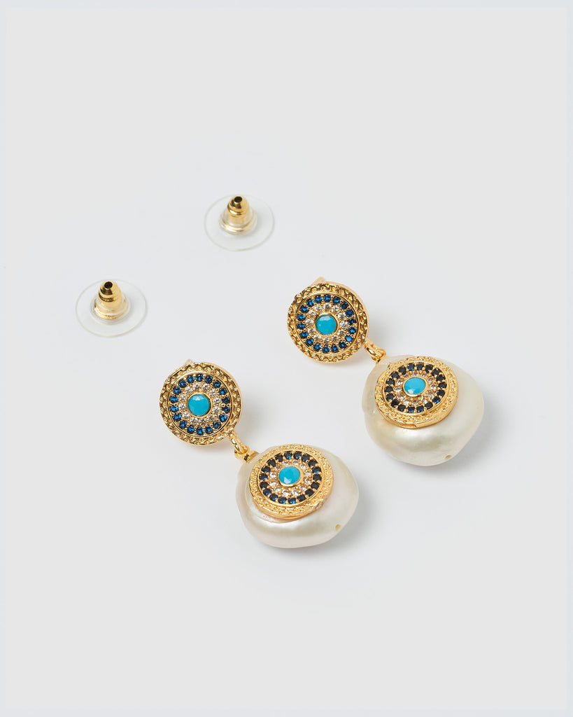 Miz Casa & Co Veronica Pearl Pendant Earrings Gold Blue
