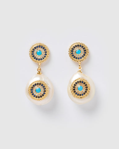 Miz Casa & Co Atlis Earrings Onyx Gold