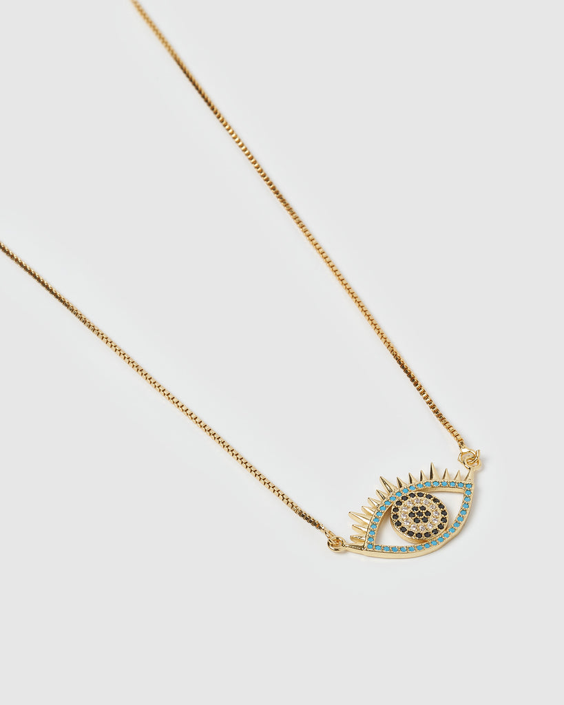 Miz Casa & Co Wonder Eye Pendant Necklace Gold Blue