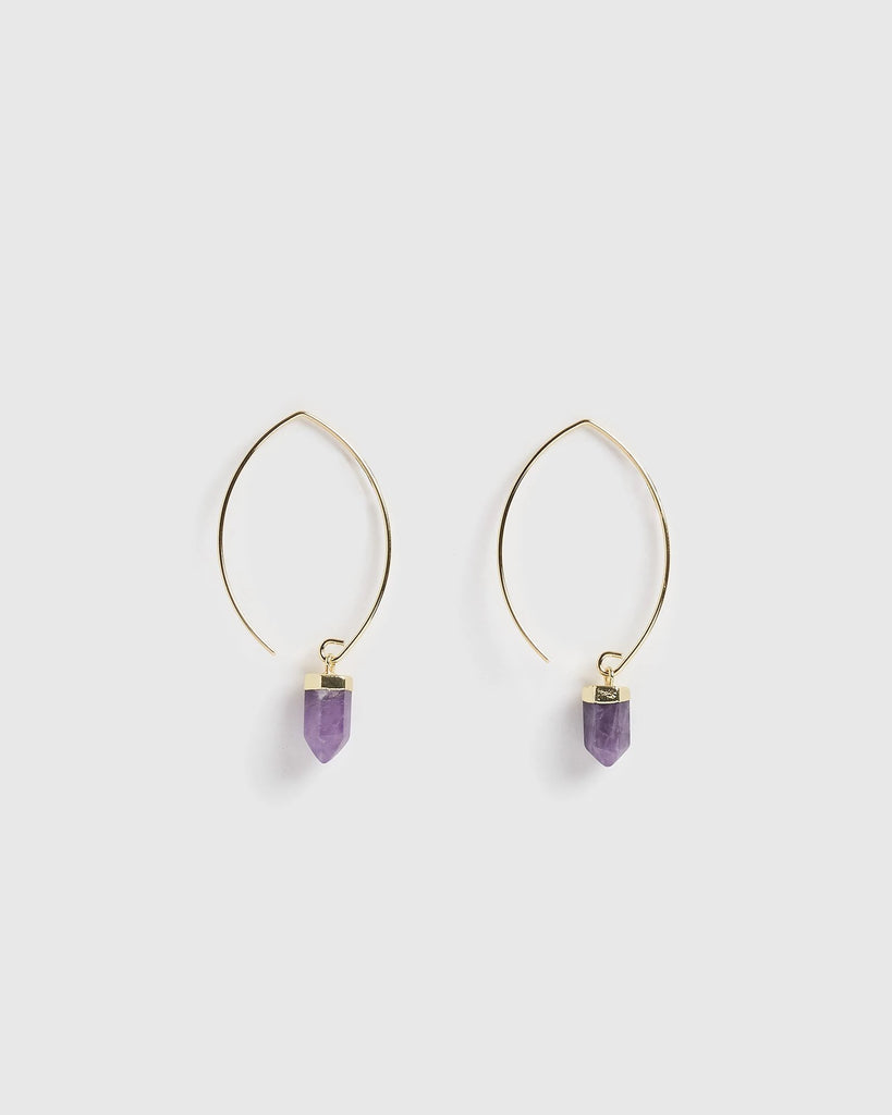 Miz Casa & Co Wanderer Earrings Gold Amethyst