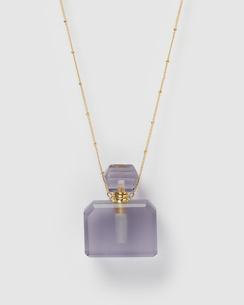 Miz Casa & Co Zella Necklace Perfume Bottle Purple Gold