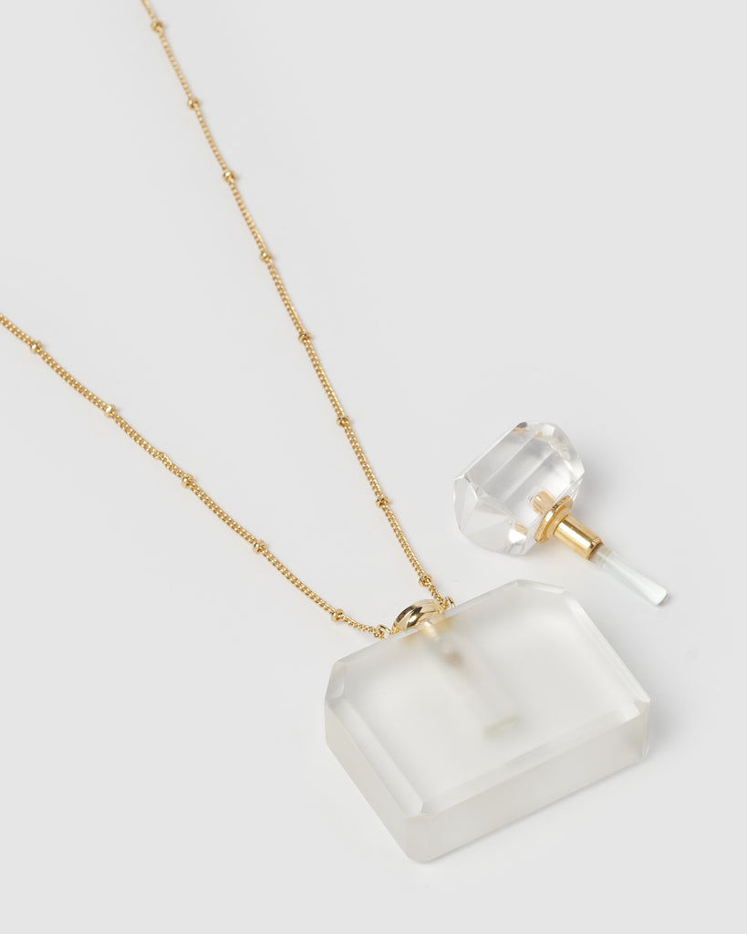 Miz Casa & Co Zella Necklace Perfume Bottle Clear Gold