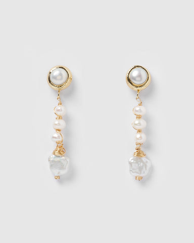 Miz Casa & Co Cosette Earrings Gold White